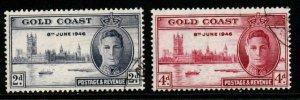 GOLD COAST SG133/4a 1946 VICTORY p13½ p12x11½ FINE USED