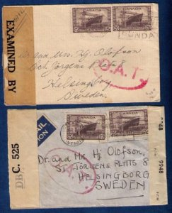 Canada (1943) Scott #260 (x2) OAT Covers Onward Air Transmission [Ontario] F-VF