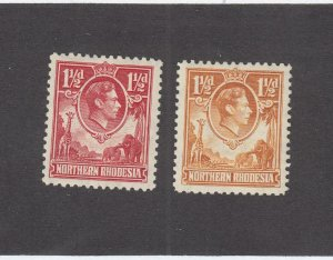 NORTHERN RHODESIA # 29-30 VF-MLH KGV1 ISSUES CAT VALUE $35+