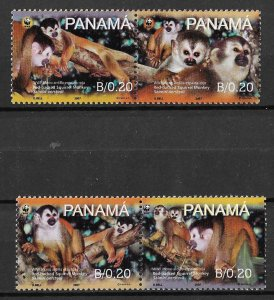 Panama MNH 931a-d Red Backed Squirrel Monkey 2007