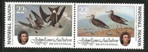 Marshall Islands Scott 63-64=64a Audobon Birds MNH** 1985