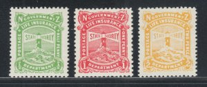New Zealand Sc OY11, OY14, OY26 MNH. 1905-47 Life Insurance stamps, 3 different