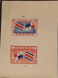 O) 1961 PANAMA,TRIAL COLOR PROOFS, RARE, MEETING OF PRESIDENTS MARIO ECHANDI ...