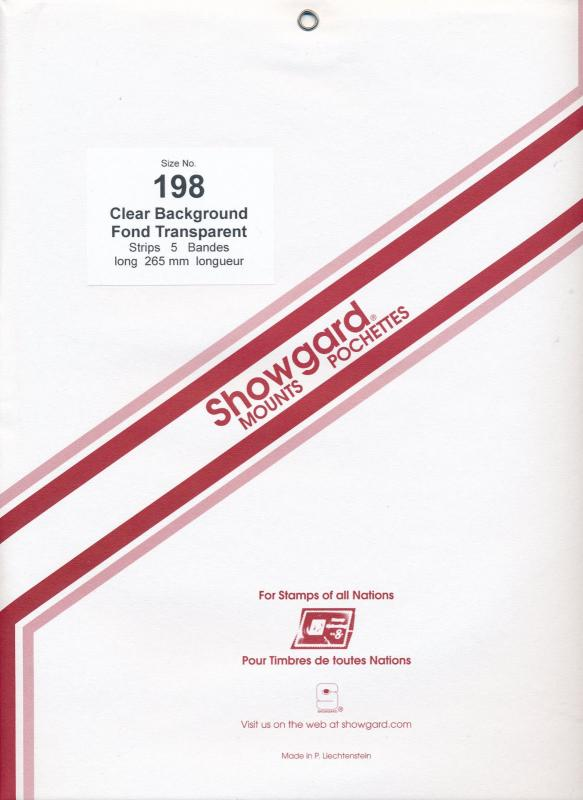 Showgard Stamp Mount Size 198/264 mm - CLEAR (Pack of 5) (198x264  198mm)  STRIP