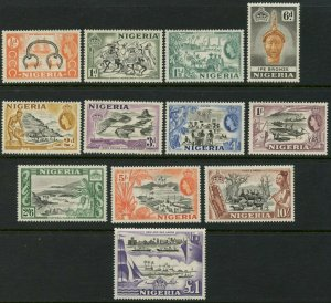 NIGERIA Sc#80-91 SG#69/80 1953 QEII Definitive Set Complete OG Mint LH