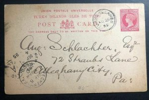 1895 Turks Island Postal Stationary Postcard Cover To Allegheny City Pa USA