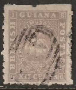 British Guiana 1866 Sc 54 used repaired large tear at right