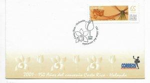 COSTA RICA 2001 150th Anniv.of Costa Rica-Netherlands Cooperation Treaty FDC