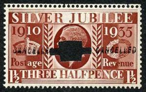 1935 Silver Jubilee 1 1/2d Opt Cancelled Twice Type 28 and Punched U/M Cat 300