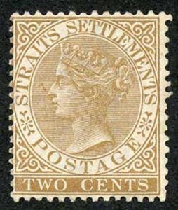 Straits Settlements SG50 2c Brown Wmk Crown CA Mint (no gum) cat 375 pounds