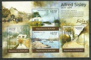 2012 Burundi Alfred Sisley Paintings souvenir sheet MNH