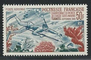 French Polynesia 1965, Underwater Fishing, 50fr Sc # C37,VF MNH** V$90 (FR-1)