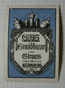 GBG Grand Bazaar To The Bouquet Nurmberg German Brand Poster Stanp Ads
