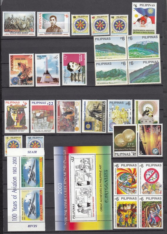 Z3841 various 2003 philippines sets  blks,sets of 1 & s/s mnh, #