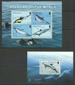 V1017 2008 MONTSERRAT FAUNA DOLPHINS OF THE WORLD #1444-7 MICHEL 19 EU KB+BL FIX