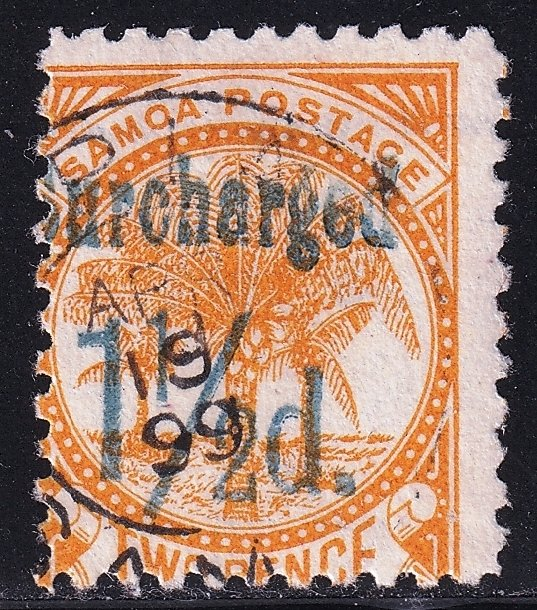 UK British Colonies & Territories SAMOA STAMP 1895  Surcharged in Blue used