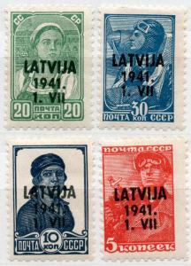 (I.B) Latvia Postal : Russian Overprints (1941)