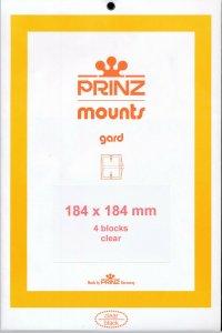 Prinz Scott Stamp Mount 184/184 mm - CLEAR (Pack of 4) (184x184)  PRECUT  1014