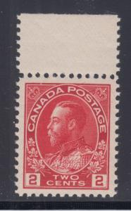 Canada Sc 106 MNH. 1911 2c carmine King George V Admiral with top selvage, XF