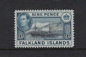 FALKLAND IS. SCOTT #90 1936-46 GEORGE VI 9 PENCE- MINT LIGHT  HINGED
