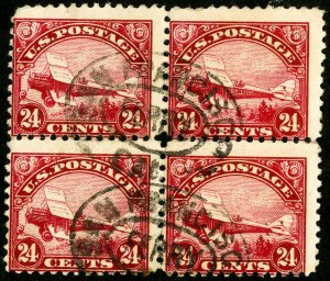 US Stamps # C6 Used Block of 4
