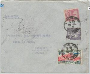 65248  - TUNISIA -  POSTAL HISTORY: FIRST FLIGHT COVER to CATANIA Italy 1937