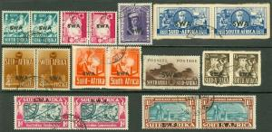 EDW1949SELL : SOUTH WEST AFRICA 1938-43 Scott #133-43 Very Fine, Used. Cat $130.