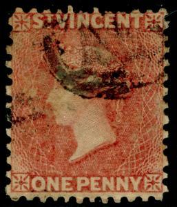 ST. VINCENT SG5, 1d rose-ed, USED. Cat £20.