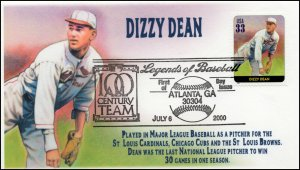 AO 3408S, 2000, Legends of Baseball, FDC, Add On Cachet, Dizzy Dean, SC 3408s