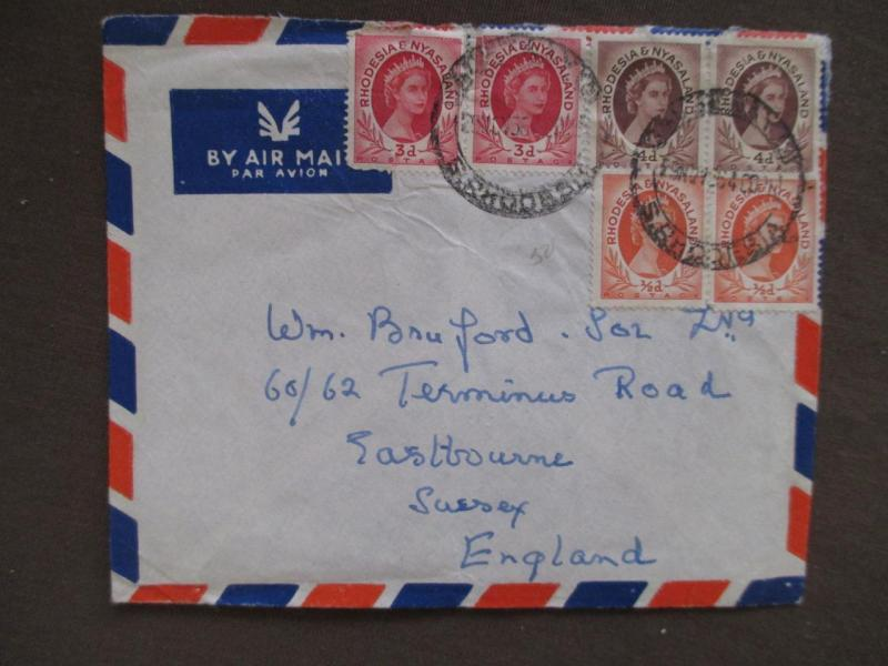 1956 Rhodesia & Nyasaland To Britain Airmail Cover - 6 Stamps (UU54)