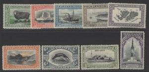 FALKLAND ISLANDS SG127/35 1933 CENTENARY SET TO 2/6 MTD MINT
