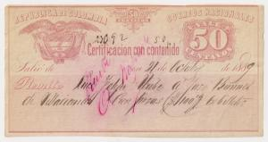 Colombia: 50c Cubiertas insured letter stamp Unusual item VF