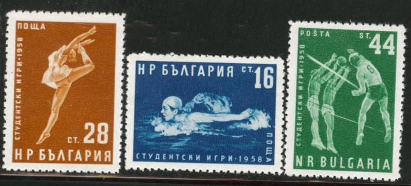 BULGARIA Scott 1017-19 MNH** 1958 sports set