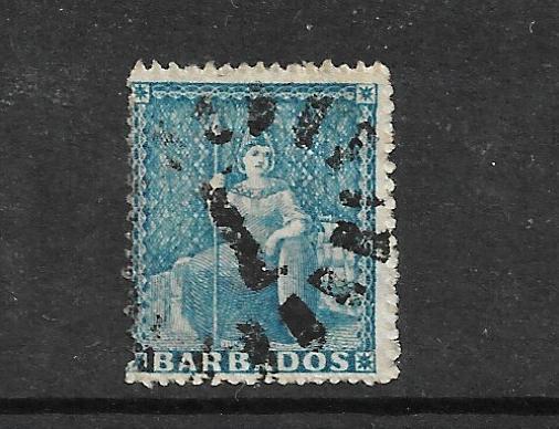 BARBADOS 1860 1d PALE BLUE FU PERF 14 NO WMK SG 14
