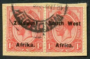 South West Africa SG17 1d misplaced overprint on piece