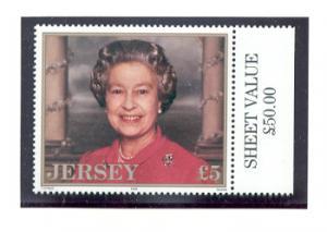 Jersey  Sc 747 1996 £5 QE II 70 th birthday stamp mint  NH