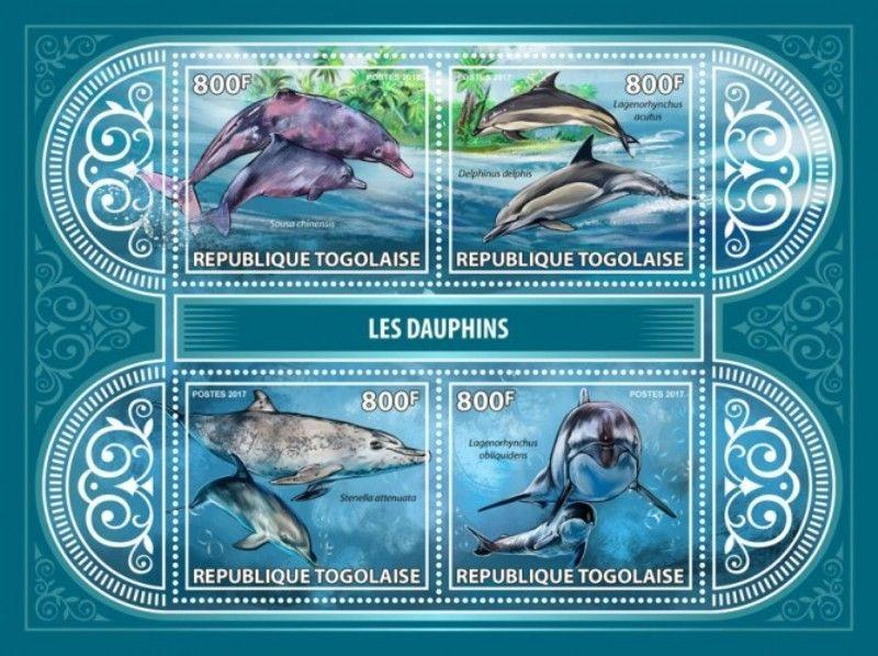 Togo - 2017 Dolphins on Stamps - 4 Stamp Sheet - TG17413a