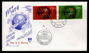 San Marino - Sc #848 & 849 -1974 UPU Centenary - Unaddressed First Day Cover