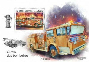 Angola - 2019 Fire Engines on Stamps - Stamp Souvenir Sheet - ANG190112b