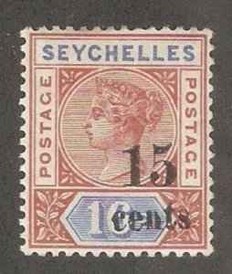 Seychelles 1893,Victoria Surcharged Shifted to the Right,Scott # 24,VF MLH*OG