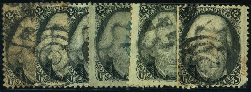 U.S. #73 (6) Used Fine, 1 with Blue cancel