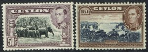 CEYLON 1938 KGVI PICTORIAL 50C PERF 12 AND 1R WMK UPRIGHT MNH **