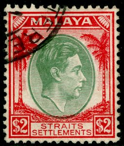 MALAYSIA - Straits Settlements SG291, $2 green & scarlet, VFU. Cat £14.