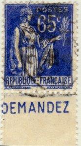 FRANCE - 1937 Pub CCP (DEMANDEZ) sur Yv.365b 65c Paix - Obl. TB (A1)