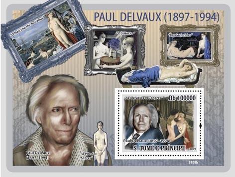 St Thomas - Delvaux Art -  Stamp S/S  - ST9109b