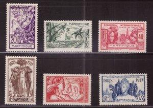 Martinique Scott 180-187 MH* 1937 Paris International  stamp expo set