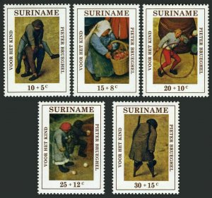 Surinam B177-B181,B179a,MNH.Michel 608-612,Bl.11. Child Games by Peter Brueghel.
