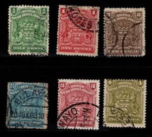 Rhodesia Scott 59-64 Used coat of arms stamps one faulty