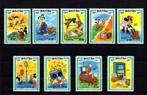 BHUTAN - 1984 - DISNEY - COMMUNICATION - MICKEY - DONALD - MINT - MNH SET OF 9!
