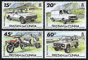 HERRICKSTAMP TRISTAN DA CUNHA Sc.# 558-61 Local Transport, Motorcycle